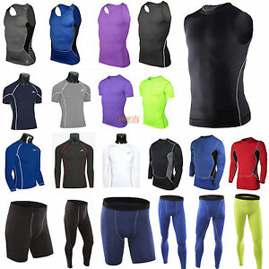 Mens Compression Thermal Layer Tops Tight Tank Skins T-Shirts Vests Pants Shorts