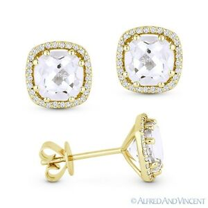 2.78ct Cushion Cut White Topaz Round Diamond 14k Yellow Gold Halo Stud Earrings
