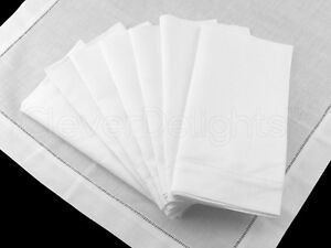 12 White Ladder Hemstitch Dinner Napkins - 20