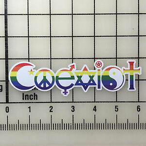 COEXIST Vinyl Decal Sticker Set 6 Wide, Full Color, BOGO