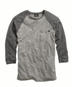 96015-15VM Men's Harley-Davidson® Grey 34 Raglan Sleeve Baseball Shirt