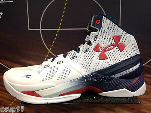 Under Armour UA Curry 2 USA Olympic White Midnight Navy Red Blue 1259007-105 MVP