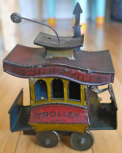 antique trolley 280098 tinplate toy 1922
