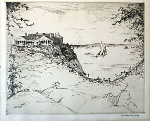 William Drury etching Landscape. Mansion in a cliff overlooking a lake and moun $200.00