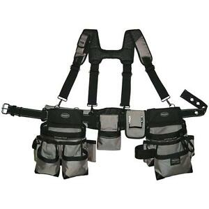 Gray Tool Belt Construction Suspender Strap Holster Pocket Pouch Bag Framer Rig