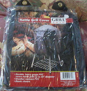 Grill Zone Black Durable Heavy Gauge Weather Resistant PVC Kettle Grill Cover