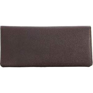 NEW SOLID LEATHER WALLET LADIES WOMEN FASHION DESIGNER LARGE CHOCOLATE BROWN