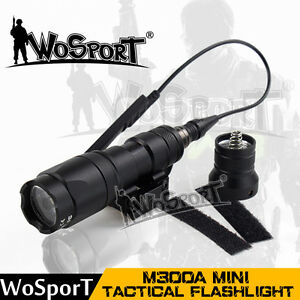 M300A Mini Scout Flashlight Tactical Torch Airsoft Weapon Light Black for Helmet