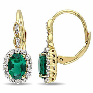 14K Yellow Gold Emerald White Topaz and Diamond Leverback Drop Dangle Earrings