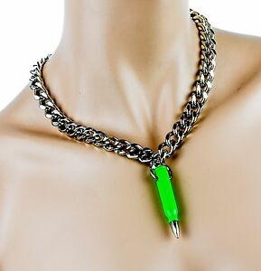 Real Bullet .223 Caliber Green Pendant With Diamond Cut Heavy Chain Necklace