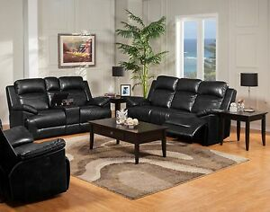 Contemporary Design Power Dual Sofa Set Console Loveseat & Glider 3pc Living Set