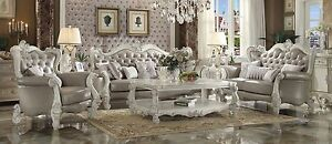 2pc Sofa Vintage Gray PU Traditional Design Living Room Furniture Sofa Loveseat