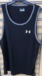 RARE 2010 UNDER ARMOUR® UA Tech™ MEN'S XL BLACK TANK TOP LOOSE WHITE UA RUN NEW