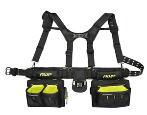 Heavy Duty AWP Construction Tool Rig Suspenders Large Pouch Belt Ballistic Nylon