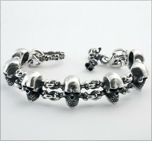 Bracelet sterling silver mens skull rock n roll heavy biker tattoo