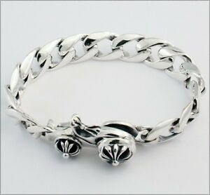 Bracelet sterling silver mens skull rock n roll heavy biker tattoo big