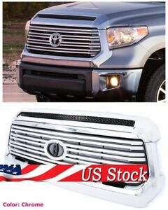 For 14-Up Toyota Tundra Platinum Style Front Grille w Hood Bulge Molding Chrome