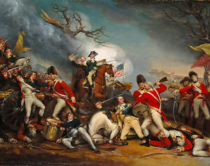 Large American Revolutionary War Painting: Battle of Princeton Canvas Art Print $24.95