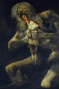 Large Saturn Devouring One Of His Children Greek Myth Real Canvas Art Print $17.97