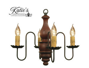 Abigail Chandelier by Katie#x27;s Handcrafted Lighting Colonial Primitive NEW