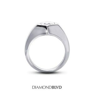 2.51 CT EVS1Ex Cut Round AGI Earth Mined Diamond 18KW Ring for Men 19.7 Grams