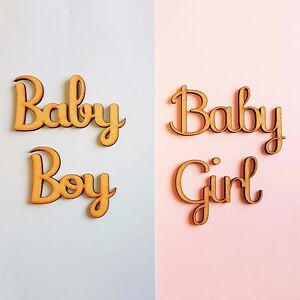 quot;Baby Boy or Baby Girlquot; Script Words 50mm Wooden MDF Phrase New Born Gift