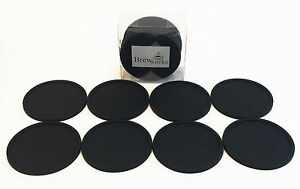 Brew Works Drink Coasters Set of 8 Black Silicone Damaged Packaging See Desc