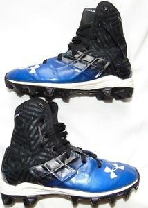 Youth Boys Hi Top UNDER ARMOUR Highlight Rubber Cleats Spikes Shoes Sz 2Y