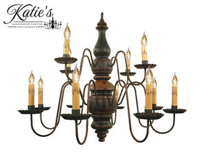 Charleston Wooden Chandelier by Katie#x27;s Colonial Primitive Country NEW