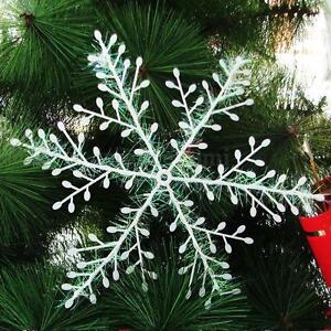 30pcs 6CM White Snowflake Christmas Tree Ornaments Holiday Party Home Decoration