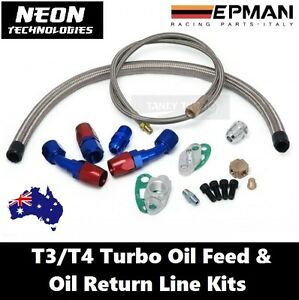 T3  T4 Turbo Oil Feed & Return Line Kit *Universal Braided Adapter T04e T60 T70