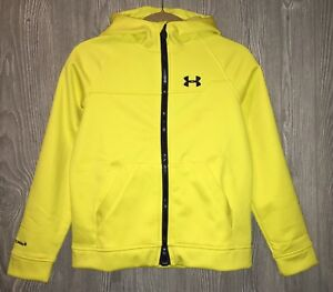 NEW Youth Boys L UNDER ARMOUR Storm2 Infrared Yellow Softershell Hoodie Jacket