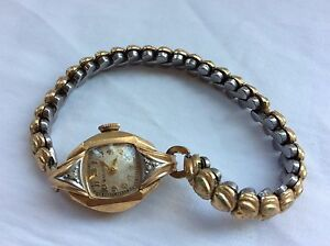 VTG BULOVA diamonds 10k 10ktgf gold filled hearts bracelet women's wristwatch