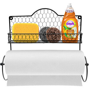 Wall Mounted Rustic Black Metal Kitchen Spice Rack & Paper Towel Holder
