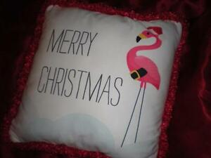 RED and WHITE TROPICAL PINK FLAMINGO SANTA HAT PILLOW 18