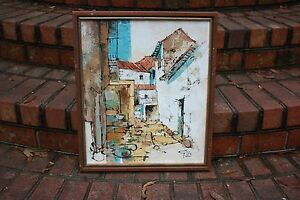 Signed Gillo Painting 19 x 16 oil Framed Village Textured Modern Southwestern $49.00