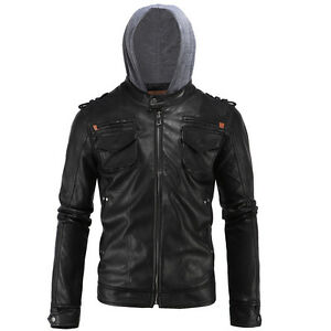 Men's Motorcycle Brando Style Biker Real Leather Hoodie Jacket - Detach Hood FH