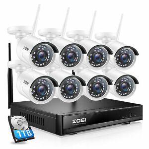 ZOSI 4CH 960P Outdoor Wireless Security Camera System 1080p Wifi NVR with 1TB HD