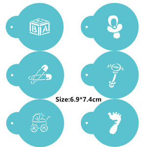 6 Pcs Packed Baby Items Cookie Cake Stencil Decorate Mould Fondant Biscuit Tool