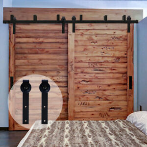 4FT-20FT Country Bypass Double Wood Sliding Barn Door Hardware Closet Track Kit