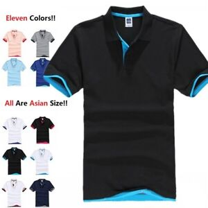 Men's Casual Cotton Blended Sleeve Jersey Sport T-Shirt Polo Golf Shirt USA