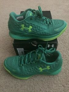UNDER ARMOUR CURRY 1 I LOW WARRIORS Neon Green 7Y YOUTH BOYS KIDS UA Rare