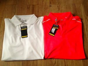 NEW NWT LOT OF 2 UNDER ARMOUR MENS HEAT GEAR LOOSE POLO GOLF SHIRTS L