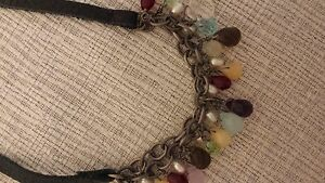 Silpada Leather Necklace Beads Pearls Retired