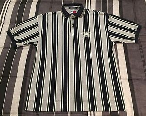VTG 90s Tommy Hilfiger Athletics Sport Spellout Colorblock Striped Polo Shirt M