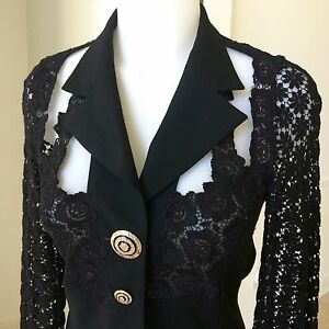 vintage GIANNI VERSACE COUTURE Black blazer with lace shoulders back and sleeves