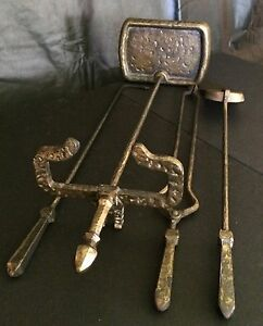 Antique Cahill Fireplace Tool Set Iron with Bronze Finish Hammered Arts