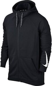 NEW Mens 2XL NIKE Dri Fit Stay Dry Rib Sides Black White Full Zip Hoodie Jacket