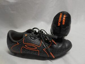 BOY'S UNDER ARMOUR FORCE SOCCER CLEATS SIZE 3Y BLACK GRAY ORANGE LACE UP