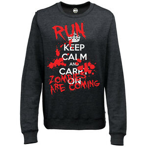 KEEP CALM AND CARRY ON HALLOWEEN RUN ZOMBIES WOMENS PRINTED SWEATSHIRT JUMPER